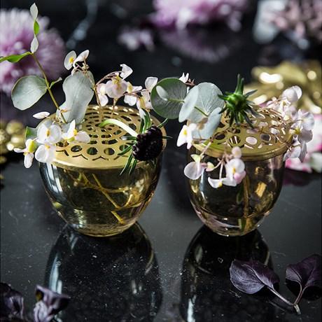 Vaser med blomhållare (2-pack), Mässing