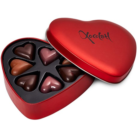 Hjärtformad chokladask - Praliner (7 st), Röd