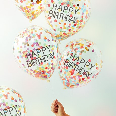 Konfettiballonger - Happy Birthday (5-pack)