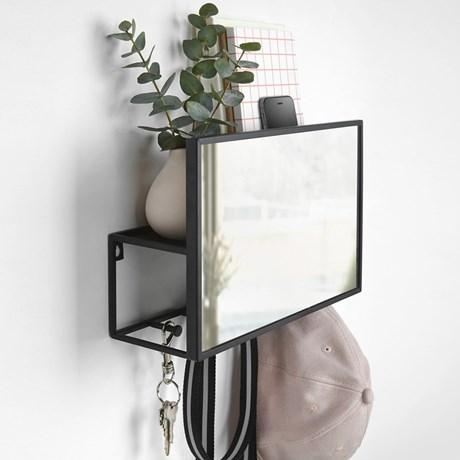 Spegel med förvaring - Cubiko Organizer, Svart