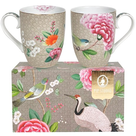 Muggar Blushing Birds, Khaki - Pip Studio (2-pack)