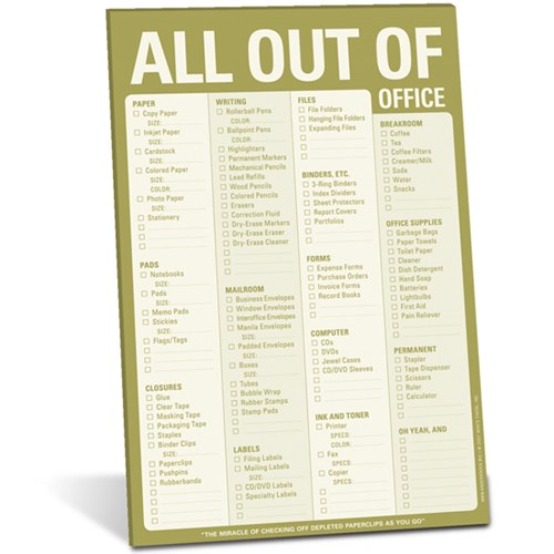 Checklista - kontorsmaterial, All out of (Office)