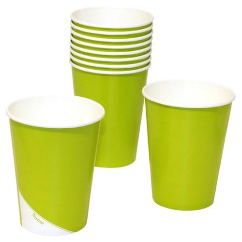 Engångsartiklar till fest, grön, Pappmuggar (10-pack)