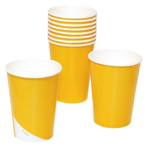 Engångsartiklar till fest, gul, Pappmuggar (10-pack)