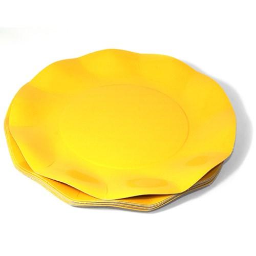 Engångsartiklar till fest, gul, Papptallrikar (10-pack)