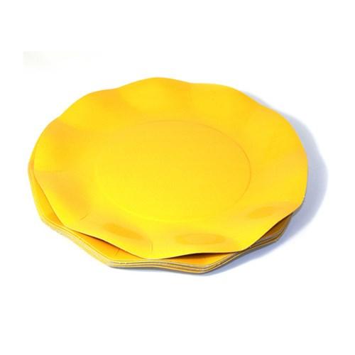 Engångsartiklar till fest, gul, Små desserttallrikar (10-pack)