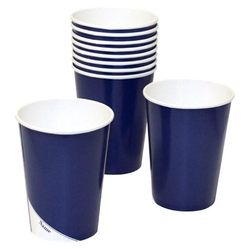 Engångsartiklar till fest, marinblå, Pappmuggar (10-pack)