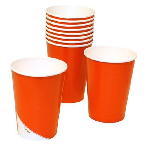 Engångsartiklar till fest, orange, Pappmuggar (10-pack)