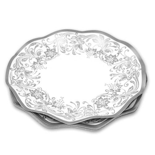 Engångsartiklar till fest - Noblesse, silver, Papptallrikar (10-pack)