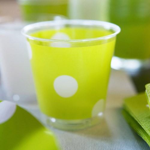 Engångsartiklar till fest - Prickiga, limegrön, Plastglas