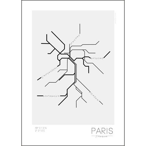 Poster - Tunnelbanor i olika städer, Paris