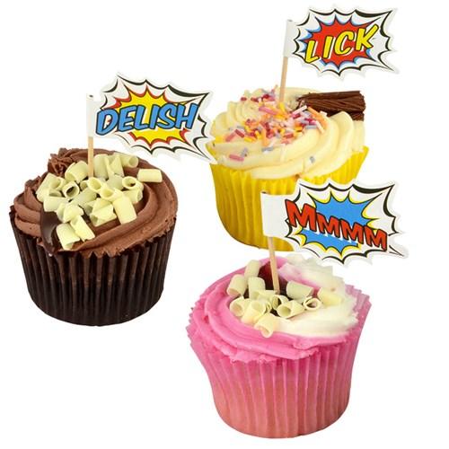 Festartiklar - Pop Art Superhero Party, Cupcake dekorset