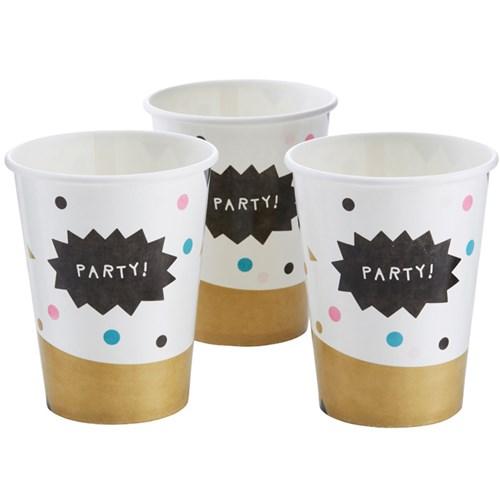 Festartiklar - Konfetti Party, Pappmuggar (8-pack)