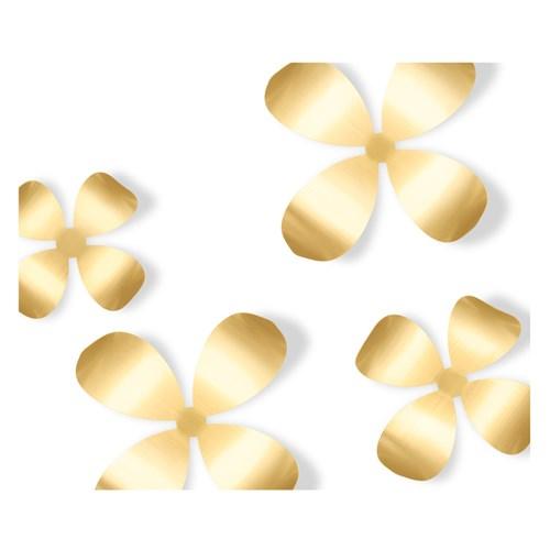 Väggdekor - Blommor (9-pack), Mässing