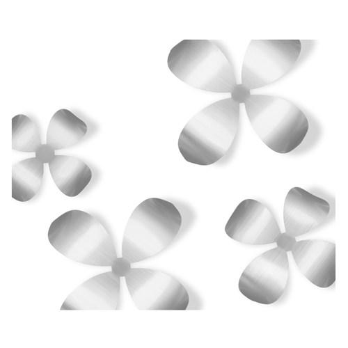 Väggdekor - Blommor (9-pack), Silver
