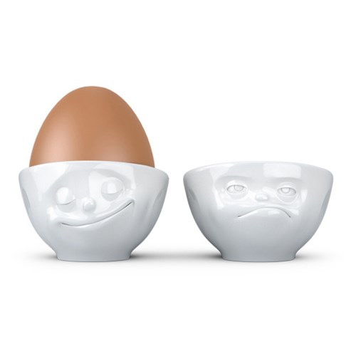 Äggkoppar med ansikte (2-pack), Nöjd och Butter
