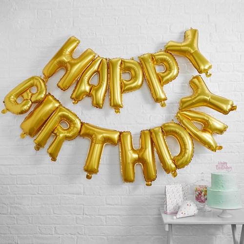 Bokstavsballonger - Happy Birthday, Guld