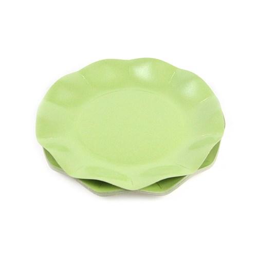 Engångsartiklar till fest, skimrande grön, Små desserttallrikar (10-pack)