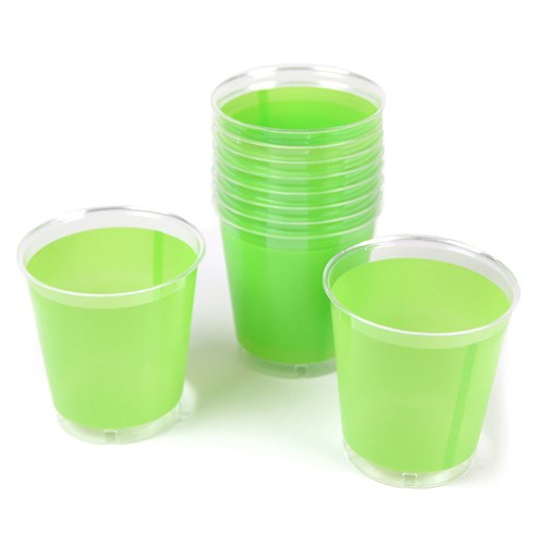Engångsartiklar till fest, skimrande grön, Plastglas (10-pack)