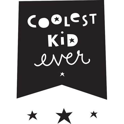 Väggdekor - Wall sticker med citat, Coolest Kid Ever