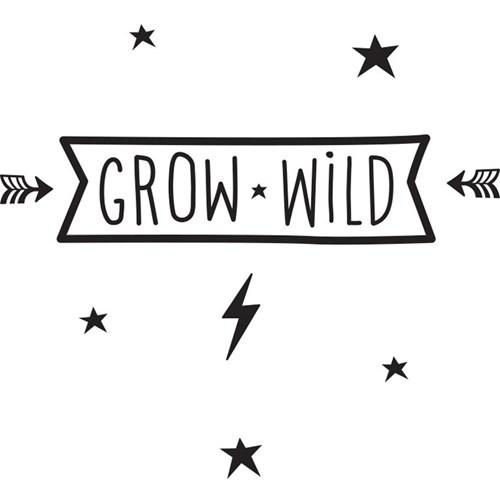 Väggdekor - Wall sticker med citat, Grow Wild