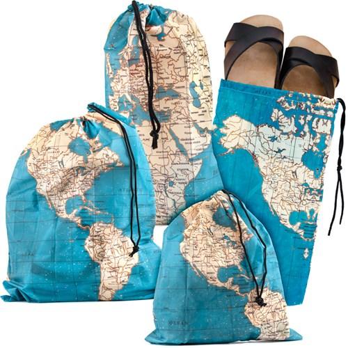 Resepåsar - Karta (4-pack), Blå