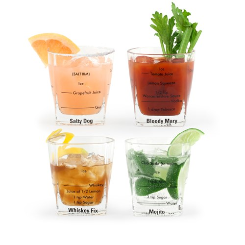 Drinkglas med recept, låga (4-pack)