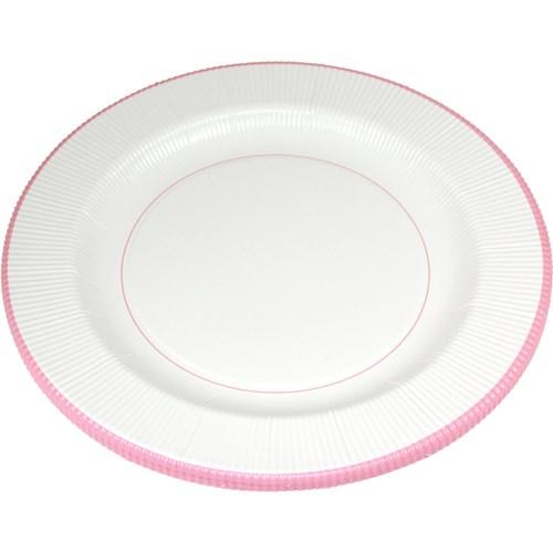 Engångsartiklar - Vit med pastell, Papptallrikar (8-pack) - Vita med rosa