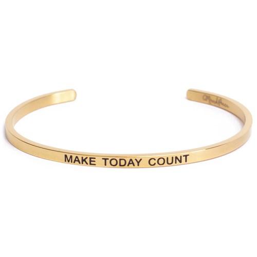 Armband med budskap - Cuff, Guld, Make Today Count
