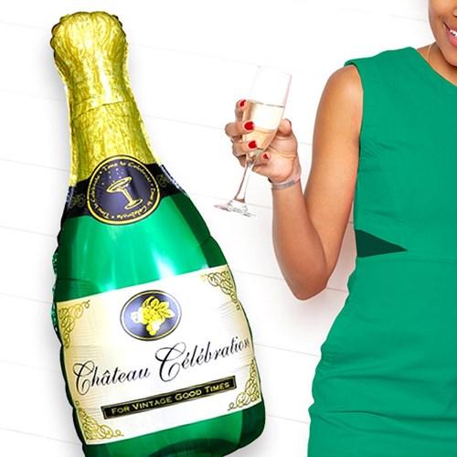 Stor folieballong - Champagneflaska (100 cm), Multi