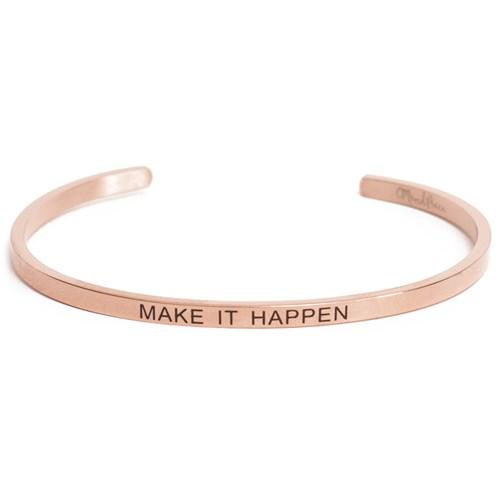 Armband med budskap - Cuff, Rosé, Make It Happen