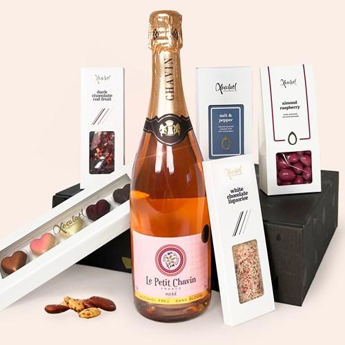 Presentlåda, Bubbel & choklad - LOVE, Rosa