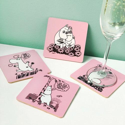 Mumin Glasunderlägg - Moomin Love (4-pack), Rosa