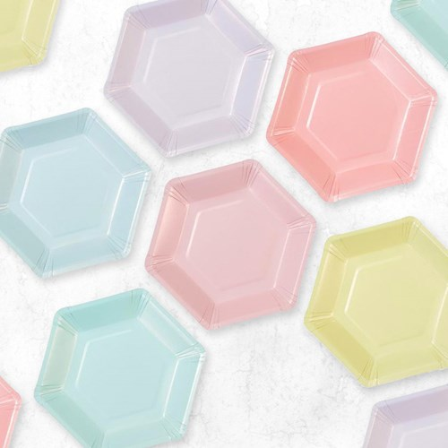 Engångstallrikar - Hexagon Pastell (12-pack), Pastell
