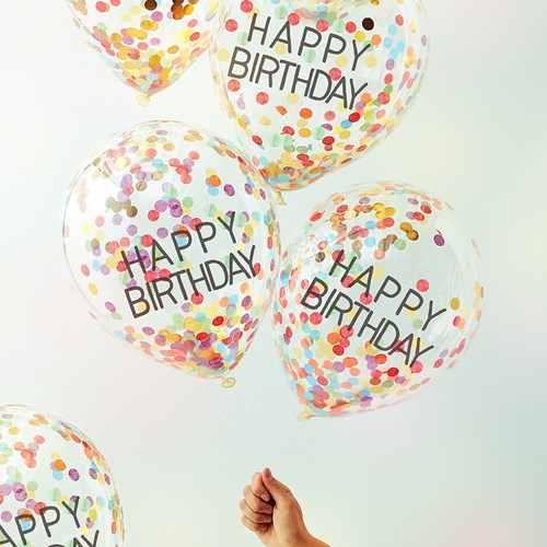 Konfettiballonger - Happy Birthday (5-pack), Multi