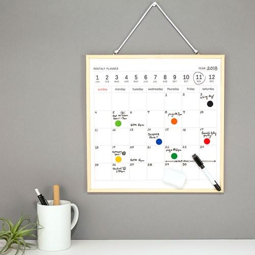 Månadsplanerare - Magnetisk Whiteboard Kalender, Vit