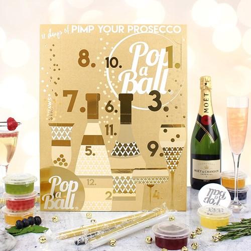 12-dagarskalender med drinkbubblor - Pimp your prosecco, Guld