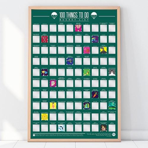 Skrapaffisch - 100 Things To Do, Scratch Off Bucket List, Grön