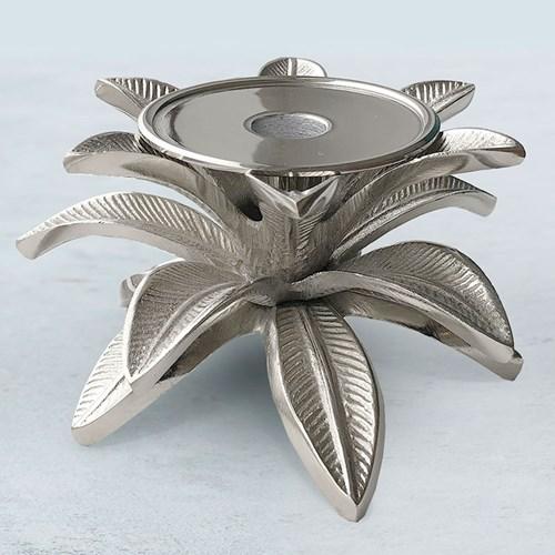 Ljusstake - Blad, silver, Mellan - 14 cm