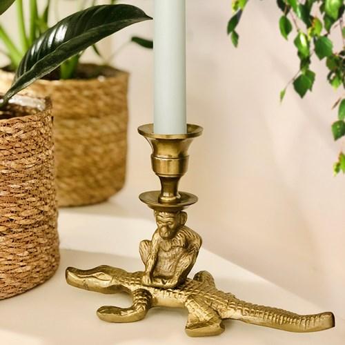 Ljusstake - Krokodil och apa, Guld