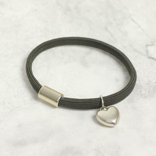 Hårsnodd/armband med hjärta, Mörkbrun