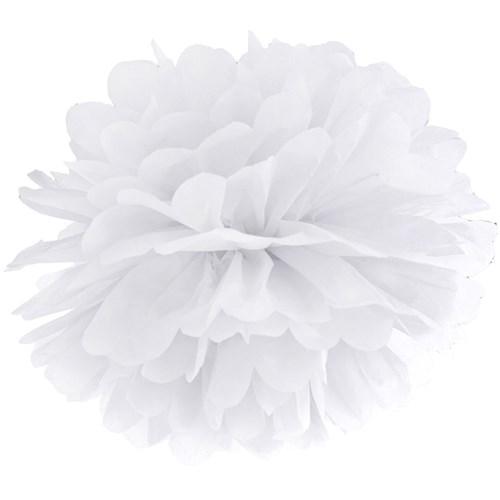 Pom poms - Pastell, Vit - 35 cm
