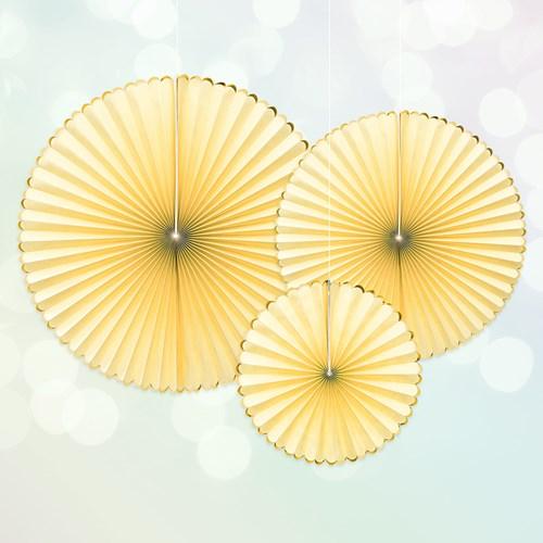 Papperssolfjäder - Gul / Guld (3-pack), Gul