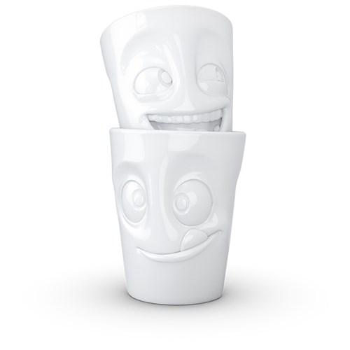 Kaffemugg med ansikte (2-pack), Skrattande & Mumsande