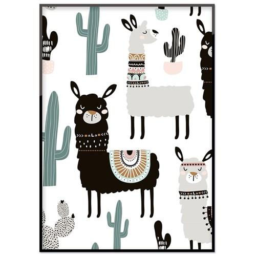 Poster - Lama & kaktus, 21 x 30 cm